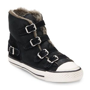 ASH-Virginy Shearling-Lined Leather Suede Sneakers